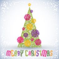 Christmas greeting card vector Merry lettering N4