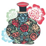Perfume bottle with floral pattern
