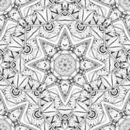 Vector Seamless Monochrome Ornate Pattern N47