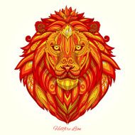 Lion red ornament ethnic vector illustration