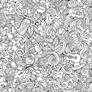 Cartoon doodles camping seamless pattern