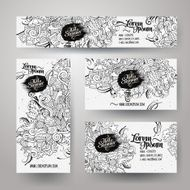 Corporate Identity templates set with doodles summer N3