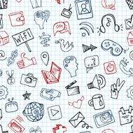 Social Media Icon seamless pattern Doodle sketchy Notepaper
