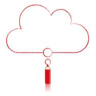Red Pencil Drawing Flat Cloud Thought Balloon