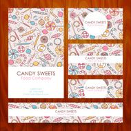 Vector Candy Food Company Business Set Template with Hand Drawn