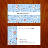 Business Card with Marine Sea Sketch Hand Drawn Background