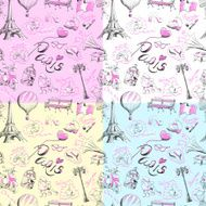 seamless pattern on the theme of Paris