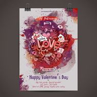Vector love doodles watercolor party poster N2
