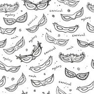 Seamless monochrome pattern with carnival masks Vector