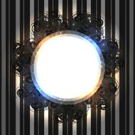 Black round vintage frame with shining lights
