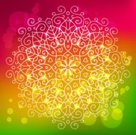 Abstract bright background with a round mandala ornament sparkl