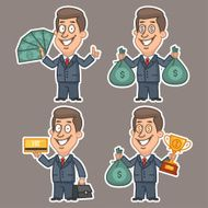 Fun businessman stickers concept set 4