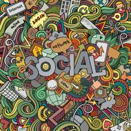 Social hand lettering and doodles elements background N2