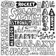 doodles - hand-drawn space text words