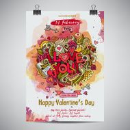 Vector love doodles watercolor party poster N3