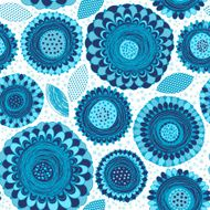 Monochrome seamless pattern of abstract blue flowers