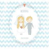 Wedding invitation with a very cute wedding couple N3