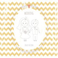 Wedding invitation with a very cute wedding couple N4
