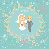 Wedding invitation with a very cute wedding couple N5
