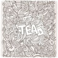 Tea hand lettering and doodles elements background N9