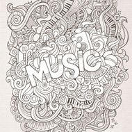 Music hand lettering and doodles elements background N5