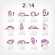 Calendar 2014 with 12 funny pink cats N2