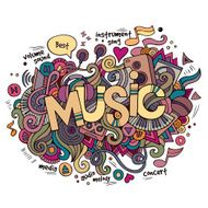 Music hand lettering and doodles elements background N6