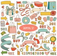 Vector set of shopping items colorful cartoon collection