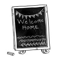 Chalkboard Welcome home sign Hand drawn Vector signboard