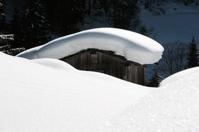 Snow on the stall in Zillertal