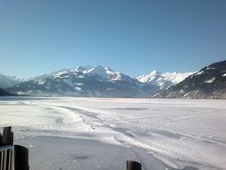 snowy lake Zell in Austria