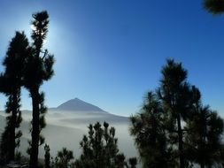 remote view of the Teide volcano in tenerife on a sunny day