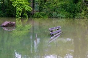 wooden bench in pond water high