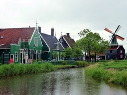 cute historic windmill in holland