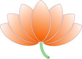 Orange lotus flower clipart