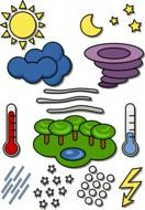 clipart of the Weather symbols on a white background