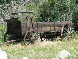 old wooden wagon in the wild west