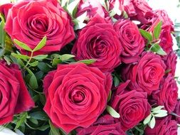 a bouquet of red roses close