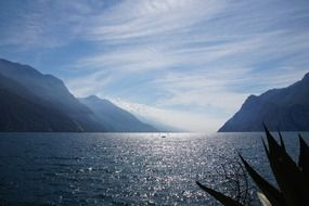 mountain lake garda in italy