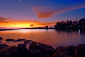 colorful peaceful sunset in indonesia
