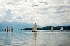 sailing boat on lake landscape