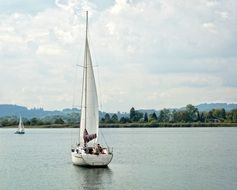 holiday sailing boat relaxing in water