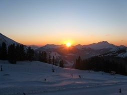 france skiing sunset