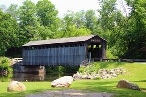 Covered bridge in nature