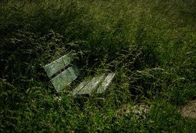 derelict park with lonely bench outdoor