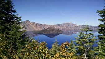 blue crater lake in wizard island
