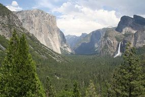 Mountain Forest and Mountains Panorama in Yosemite National Park, California