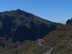 pass road in the mountain on Canary Islands