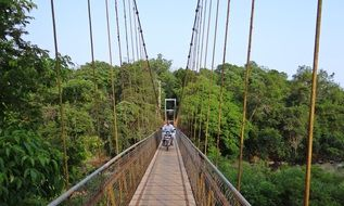 Hanging bridge in India