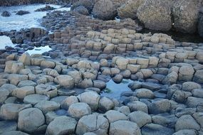 The Giant's Causeway is an area of about 40,000 interlocking basalt columns